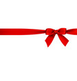 realistic red bow and ribbion on white background vector image