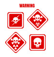 red warning icons with skulls vector image