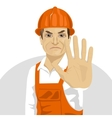road worker in hard hat showing stop gesture vector image