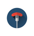sausage on fork icon oktoberfest traditional meal vector image