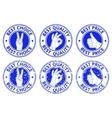 Set of blue badges with hand gesture symbols vector image