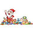 Santa with lots of toys vector image vector image
