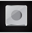 button icon on metal background vector image vector image