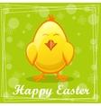 Cute yellow cartoon chicken vector image