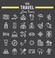 travel line icon set tourism symbols collection vector image
