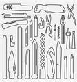 set of lined multifunction knife elements line vector image