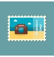 Photo Camera flat stamp summertime vector image