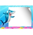 Shark cartoon with blank sign vector image vector image