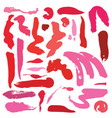 large set with bright pink red and coral vector image