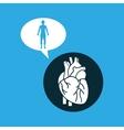 silhouette man heart anatomy body vector image