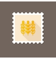 Spikelets wheat flat stamp with long shadow vector image