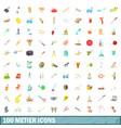 100 metier icons set cartoon style vector image vector image