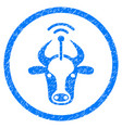 cow radio transmitter rounded grainy icon vector image