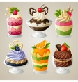 Sweets ice cream mousse dessert set vector image