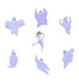 Cartoon funny good funny ghosts on Halloween vector image