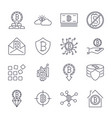 bitcoin different icons set for internet money vector image