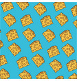 cheese piece pattern colorful in blue background vector image