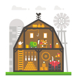Flat design barn interior infographic vector image
