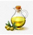 Olive oil in a glass bottle with handle and corck vector image