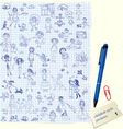 Set of Kids drawing - childish style picture vector image