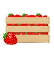 sweet strawberries in wooden box vector image
