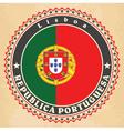Vintage label cards of Portugal flag vector image