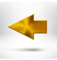 Left Arrow Sign with Gold Metal Texture vector image