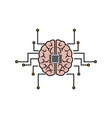 printed circuit board human brain center of vector image