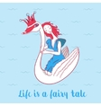 241Cartoon cute swan with crown and girl vector image