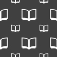 Open book icon sign Seamless pattern on a gray vector image