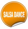 salsa dance round orange sticker isolated on white vector image