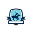 Polo Player Riding Horse Crest Retro vector image