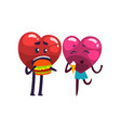 cute red and pink hearts characters eating vector image