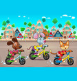 funny pets are riding bikes in the town vector image