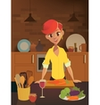 Healthy food cartoon woman cooking in the modern vector image