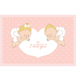 I love you card with two cupids horizontal vector image