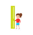little girl holding giant ruler preschool vector image