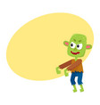 scary little green zombie monster in rags vector image