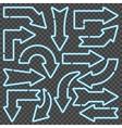 Blue neon arrows vector image