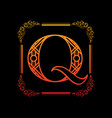 letter q with ornament vector image