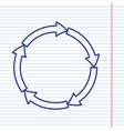 Circular arrows sign navy line icon on vector image