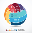infographic Template with volleyball jigsaw banner vector image