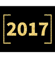2017 New Year type in Golden glitter style on vector image