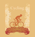 Cycling man Silhouette Grunge Poster Template vector image vector image