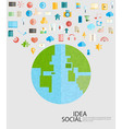 World Social network with media icons vector image