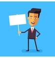 Handsome asian businessman holding banner vector image