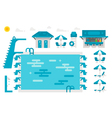 Flat design swimming pool set vector image vector image