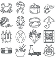 Black line icon collection of sea food vector image