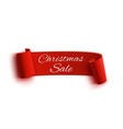 christmas sale red realistic paper ribbon vector image