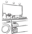 hand drawn bathroom washbasin mirror and other vector image